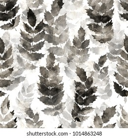 Decorative seamless pattern. Black ink texture. Abstract botanical background for fabric, wrapping paper, cards, websites and other projects. Mixed media. Grunge design.