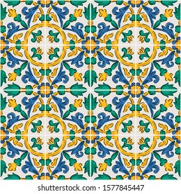 Decorative seamless pattern with sicilian ornament. Colorful ceramic tiles in floral traditional style of Palermo.  endless texture for digital paper, fabric, backdrop or wrapping