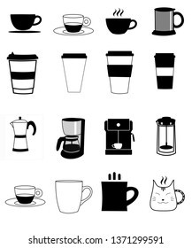 Decorative set of cups of coffee and coffee makers isolated illustration design on white background.