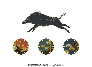 Decorative silhouette of running boar and traditional Japanese plants patterns set isolated on white background