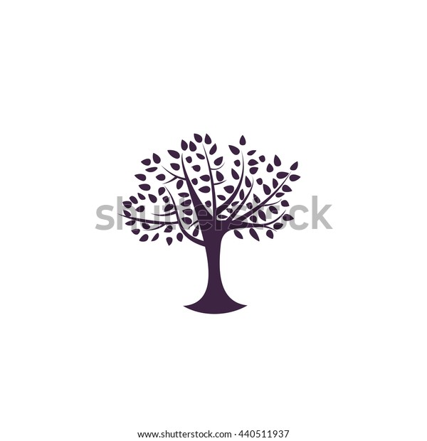 Decorative simple tree. Simple blue icon on white background
