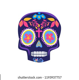 Decorative skull day of the dead illustration. Mexican Dia de los Muertos.