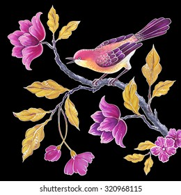 decorative songbird , flowers and leaves, chinoiserie floral bird background