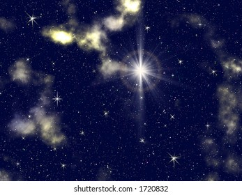 Decorative Space Background with numerous stars and nebula