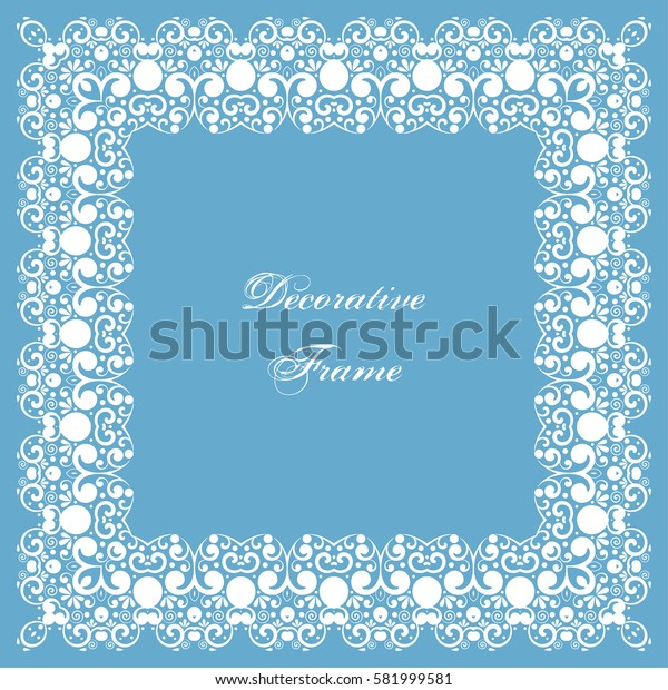 Decorative square frame with swirls. Ornamental background for greeting card or wedding invitation. Illustration.