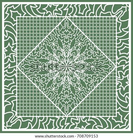 decorative square template fabric print azhure stock illustration