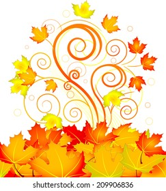 Decorative swirling autumn design