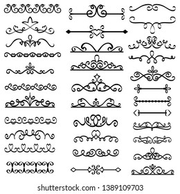 Decorative swirls dividers. Old text delimiter, calligraphic swirl border ornaments and vintage divider set
