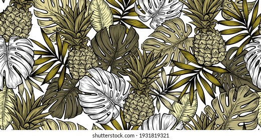 Decorative tropical pattern. Design of wallpapers, fabrics, covers and more.
