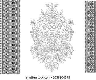 Decorative Vintage Swirl Floral Silhouette Design Royalty Free Cliparts, Stock Illustration with seamless border