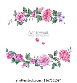 Decorative vintage watercolor pink roses, Nature greeting card with flowers, leaf and buds, botanical floral illustration isolated on white background, round wreath