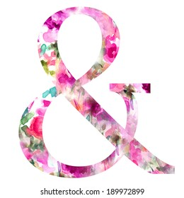 Decorative Watercolor Ampersand with Purple Floral Texture