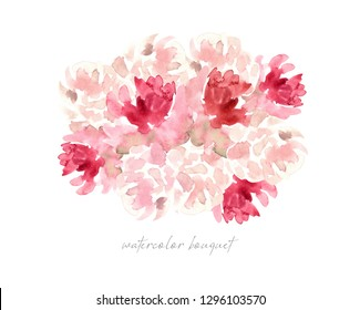 decorative watercolor flowers. floral illustration, Leaf and buds. Botanic composition for wedding or greeting card. branch of flowers - abstraction roses, peonies romantic bouquet