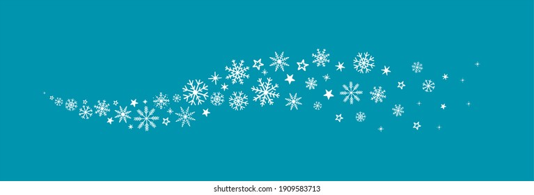 decorative winter background with snowflakes wave, snow, stars, design elements