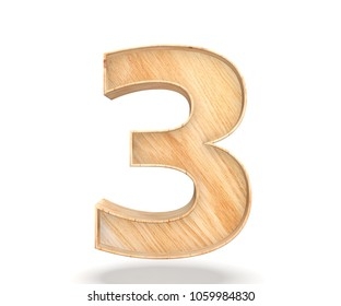 Decorative wooden alphabet digit zero symbol - 3. 3d rendering illustration. Isolated on white background
