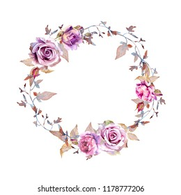 Decorative wreath of watercolor lilac roses, leaves and twigs. Perfect for decoration of wedding attributes, printed and textile products, scrapbooking, postcards, envelopes, photo frames and other.