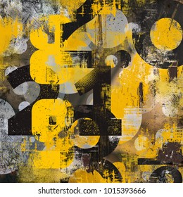 Decorative yellow and black abstract collage with typo and geometrical elements