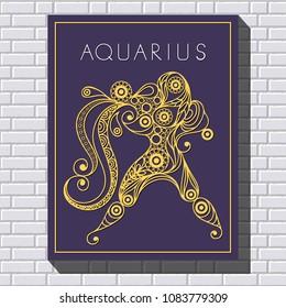 Decorative zodiac sign Aquarius. Horoscope and astrology (astronomy)-symbol.