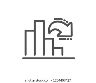 Decreasing graph line icon. Column chart sign. Market analytics symbol. Quality flat web app element. Line design Decreasing graph icon.