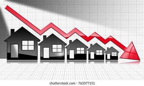 Decreasing real estate sales - 3D illustration of five house-shaped symbols and a graph falling with a red arrow