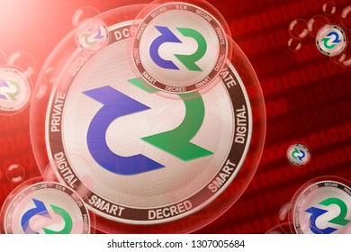 Decred crash; Decred (DCR) coins in a bubbles on the binary code background. Close-up. 3d illustration