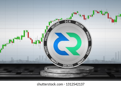 Decred; cryptocurrency coins - Decred (DCR) on the background of the chart. 3d illustration