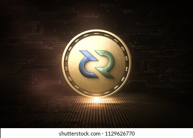 Decred - DCR - 3D Cryptocurrency Coin - Front View