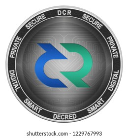 Decred (DCR) coin isolated on white background; decred cryptocurrency