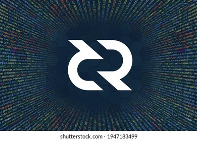 Decred, DCR  cryptocurrency symbol. A tunnel from a computer program code. Programmer Strings of code, Javascript, CSS and PHP. Hacking coding concept. Source code for software.