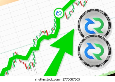 Decred going up; Decred DCR cryptocurrency price up; flying up success growth price rate chart (place for text, price) 3d illustration