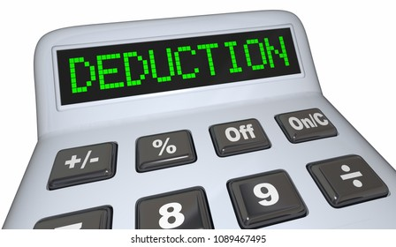 Deduction Word Calculator Tax Budget Expense 3d Render Illustration