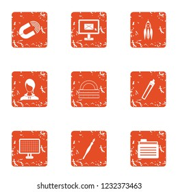 Deed icons set. Grunge set of 9 deed icons for web isolated on white background