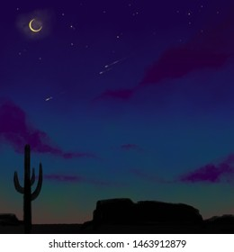 Deep dusk over a southwestern desert with a bright crescent moon, shooting stars, large mesas, and a cactus