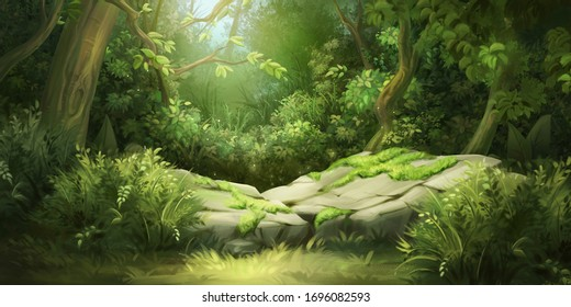 Deep Forest. Fantasy Backdrop. Concept Art. Realistic Illustration. Video Game Digital CG Artwork Background. Nature Scenery.