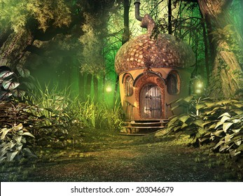 Deep forest scenery with a fairy house, trees and plants