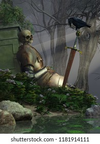 In a deep forest, a skeleton of a long dead knight, still wearing plate armor, lays against an old stone marker.  A crow lands on the deceased warriors rusty sword. 3D Rendering