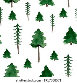 Deep forest and spruce watercolor seamless pattern. Template for decorating designs and illustrations.