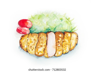 Deep Fried Pork, Tonkatsu watercolor