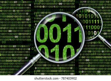 Deep information search as a digital forensics and forensic data analysis or underlying databases as a 3D illustration.