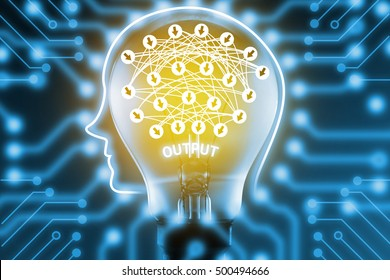 Deep learning , Machine learning and artificial intelligence concept. Robot brain on light bulb with deep learning connect and electric circuits graphic