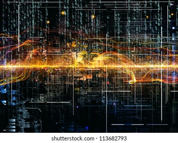 Deep Networking series. Abstract design made of industrial grunge texture, numbers and dark gradients on the subject of computing, industrial design and modern technology