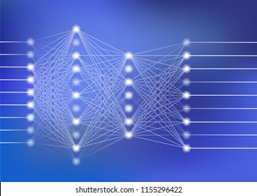 Deep neural network vector illustration with dark blue background for artificial intelligence