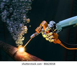Deep sea repair work on a corroded metal pipe