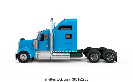 Deep Sky Blue american truck isolated on white background