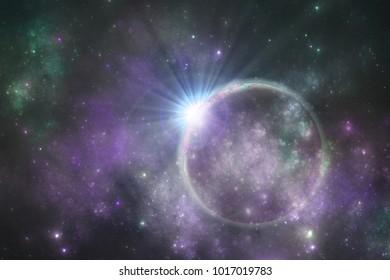 Deep space alien planet with celestial cloud, fantasy universe 3d illustration