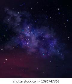 Deep space background with nebula and stars. Night sky