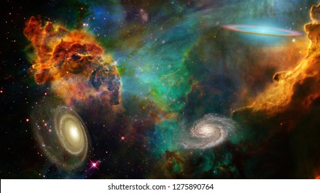 Deep Space. Colorful Universe, nebulae and galaxies. 3D rendering
