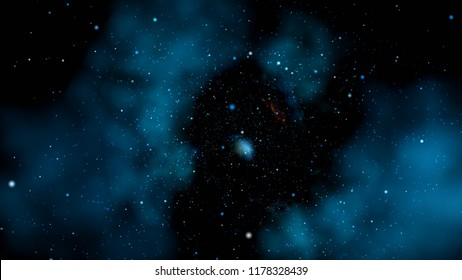 Deep space. Star Clusters, Nebulae and Galaxies. 3D illustration
