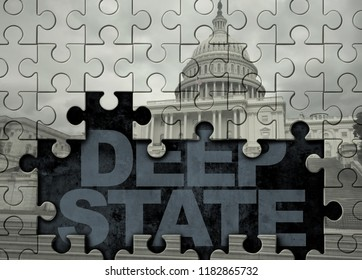 Deep state American politics concept and United States political symbol of a secret underground government bureaucracy with 3D illustration style.