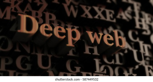 Deep web - Wooden 3D rendered letters/message.  Can be used for an online banner ad or a print postcard.